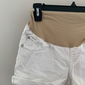 Indigo Blue Shorts - White maternity jean shorts